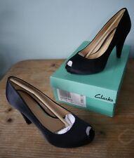 Clarks Dollar Coin black satin peep toe heels- 6 worn once wedding, 50s pinup