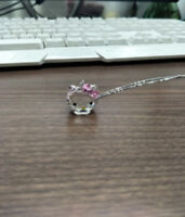 2018 Crystals from Swarovski Pendant Cute Hello Kitty Jewelry Necklace girl Gift