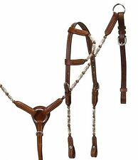 Showman One Ear Show Horse Headstall Breastcollar Set w Copper & Silver Beading!