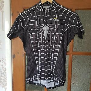 """G-Like Mens Cycling Jersey Black """"Spiderman"""" Mens Medium Short Sleeve"""