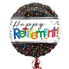 "18"" Round Black Spotty Happy Retirement Foil Helium Balloon Party Decoration"