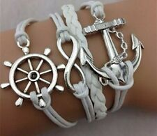 Fashion Women Men Leather Cute Infinity Charm Bracelet Silver lots Style Jewelry