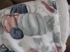 New Lg Blue, Pink & Green Pumpkins Fall Theme Plush Fleece Sherpa Throw Blanket