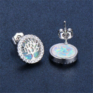 Fashion Women's Silver White Protein Tree Round Stud Earring Jewelry wedding