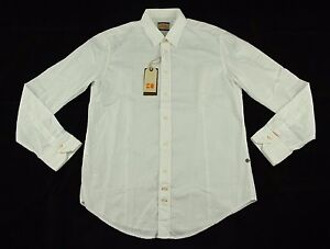 """BNWT Hugo Boss """"CliffE"""" Solid White Standard Dress Shirt Size L 100% Authentic"""