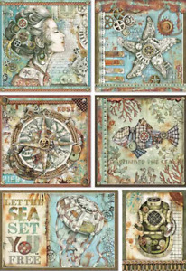 A4 Decoupage Rice Paper - Furniture, Craft, Mixed Media. Steampunk Sea Frames