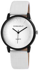 Donna Kelly Damen Armbanduhr 40 mm Kunstleder Armband Uhr Weiß sportlich elegant