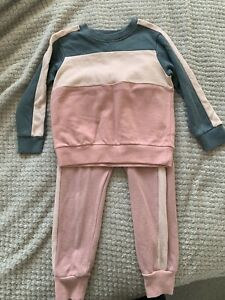 Childrens Girls Next 3-4 Years Tracksuit Set Pink Jumper Joggers Stripe