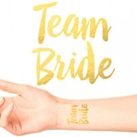 BRIDE TO BE/ TEAM BRIDE TEMPORARY TATTOOS Gold Funky Hen Party Night Accessories