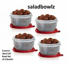 TUPPERWARE IDEAL LIT'L BOWL SET of 4 in Red Little Snack Bowls iNsTOCK! fREEsHiP