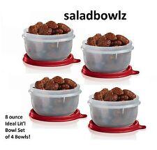 TUPPERWARE IDEAL LIT'L BOWL SET 4 Sheer Snack Bowls w/White Seals Little iNsTOCK