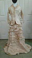 Vintage 1870s Women's Pink and Cream Organdy Bodice and Skirt Set