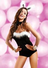 Sexy Bunny Costume, Black Bodysuit W/Furry Tail, Cuffs, Bow Tie & Ears W/Fur