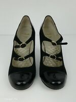 Clarks Cushion Soft Black Suede Patent Leather Smart Court Shoes UK Size 6 D