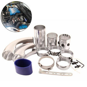 "Universal 3"" Aluminum Air Intake Pipe Kit Turbo Cold Air Filter Injection System"