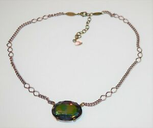 Sabika Necklace W17 Choker Link  Chain Pendant oval Crystal