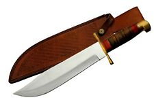 "MASSIVE 17"" STAINLESS BOWIE STACKED LEATHER HANDLE & SHEATH FIXED BLADE KNIFE"