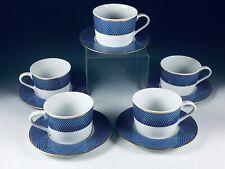 1980 Block Spal Portugal BLUE SKIES 5 Cup & Saucer Sets EXC!