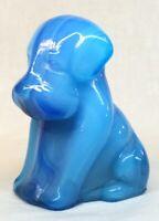Boyd Art Glass Peacock Blue Swirl Pooch Dog #121 Made 8-16-1999