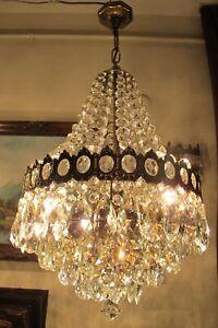 Antique Vnt. French Basket style swarovski Crystal Chandelier Lamp Light 1940's