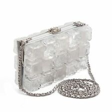 CHANEL ICE CUBE CLUTCH - CC LOGO SILVER LEATHER CROSSBODY CHAIN SHOULDER BAG