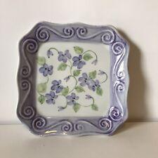 "New ListingAndrea By Sadek - Square Purple Flowered Plate Scalloped Edge 6 1/4"""