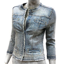 Nosecrets Giubbotto Donna Giacca Jeans Jewel con Strass Manica 3/4 Denim Jacket