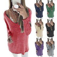 Plus Size Womens V-Neck Pullover Blouse Tops Long Sleeve Tunic T-Shirt Sweater
