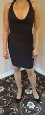 Women's Girls Deep Cowl Neck Deep Cleavage Black Micro Mini Dress 14/16/18