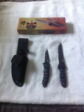 Ninja Samurai Hunting Knife and Folder Pocket Knife Combo Set Nib
