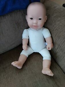 JC Toys Berenger Asian 15 Inch Large Soft Body Baby Doll Small Mark on Face