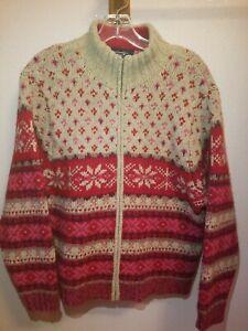 Vintage Eddie Bauer Fair Isle Nordic Zip Up Lambs Wool Sweater Mock Neck XL