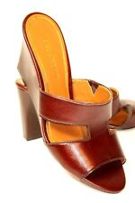 Enzo Angiolini Womens 9 M Brown Leather Open Toe Wedge Heels Sandals Slides