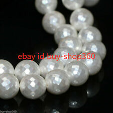 Natural White Shell Pearl 10mm Faceted Round Loose Beads 15''