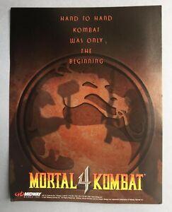 RARE VINTAGE ARCADE MACHINE  FLYER – MORTAL KOMBAT 4 – GAME, MIDWAY, 1997.