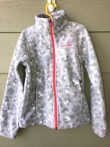 Columbia Full Zip Gray Cheetah Leopard Ski Fleece Jacket Girls Unisex Small 7/8