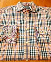 Thomas Dean Mens Medium Orange Loud Psychedelic Flip Cuff Plaid L/S Collar Shirt