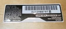 Nintendo Game Boy Advance GBA SP Model # **AGS-001** Replacement Sticker Label