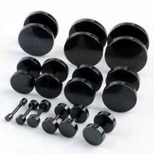 Black Stud Earrings Men Women Faux Gauges Ear Tunnel Stainless Steel Earrings