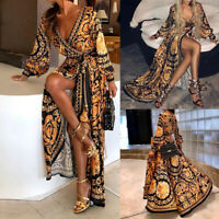 Women's Print Evening Party Ball Prom Gown Formal Cocktail Wedding Long Dress UK