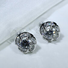 18K White Gold Filled Clear CZ Women Fashion Jewelry Flower Stud Earrings E0343