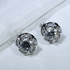 18K White Gold Filled Clear CZ Women Fashion Jewelry Flower Stud Earrings E0343