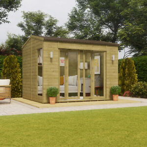 10x8 Pressure Treated Cannes Wooden Garden Summerhouse Sunroom With French Door