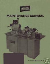 Hardinge Model Hc Chucking Machine Maintenance Manual