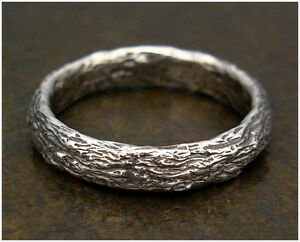 Tree Bark Unisex or Mens Ring, Sterling Silver Wedding Band, sz 2-15