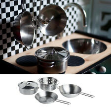 IKEA 4 PC stainless steel cookware kids toy pretend role play pots pans Duktig