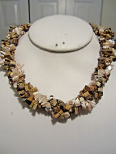 Three Strand Twisted Natural stone And Shell Chips Choker Necklace