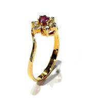 Bijou plaqué or 18 carats bague pierre rouge détails oxydes de zirconium ring