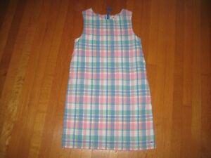 Vineyard Vines girl's sleeveless pink blue plaid dress 10 years linen pockets