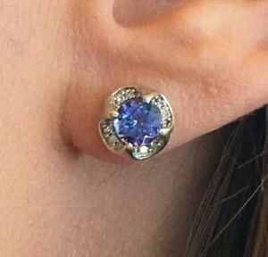 Le Vian Blueberry Tanzanite & Diamond Stud Earring 14k Vanilla Gold